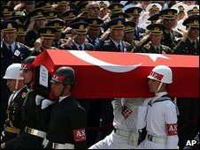 Funeral of Turkish soldier killed by PKK