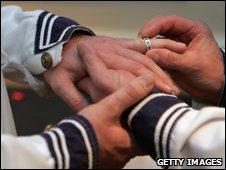 Men exchanging rings
