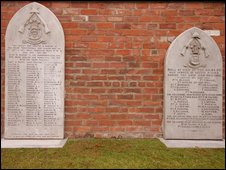 Stone memorial tablets. Photo courtesy of Andrew Argyle