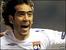 Cesar Delgado is a picture of joy after earning Lyon a win against Liverpool