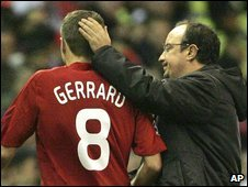 Liverpool captain Steven Gerrard (left) was taken off injured by manager Rafael Benitez