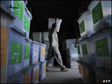 Ballot boxes after Afghanistan's election in August