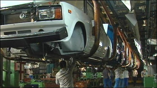 On the Lada production line at the factory in Togliatti