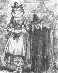 Illustration of Chattox and her daughter Anne Redferne