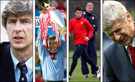 Clockwise from left: Arsene Wenger at Monaco, completing the 2003-04 Premier League season unbeaten, watching Cesc Fabregas in training and agonising over Arsenal's defeat by Manchester United in August 2009