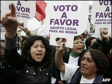 Pro-choice protesters in Lima, Peru (20 October 2009)