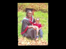 Audrey Wabwire with her son on her graduation day