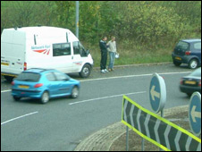 Patel exchanging details with another driver at Eden Point roundabout