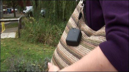 GPS device on bag