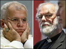Archbishop Joseph Augustine Di Noia at Vatican (left) and Dr Rowan Williams in London