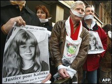 Archive picture shows Frenchman Andre Bamberski, centre, father of Kalinka, staging a protest action in front of the German consulate in Toulouse, Southern France (7 Feb 2002)