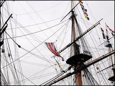 The masts of HMS Victory