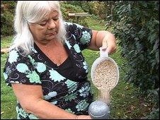 Marilyn Brown feeding birds