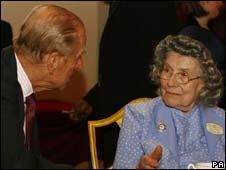 Prince Philip and former Land Girl Helen Dann
