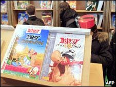 Asterix books on display at the Paris book fair in March 2008