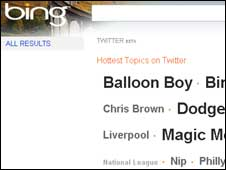 Screengrab of Bing Twitter search, Microsoft