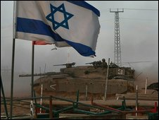 Israeli tank near Gaza border (file image)
