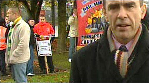 The BBC's Wyre Davies at a picket line in Cardiff in Wales