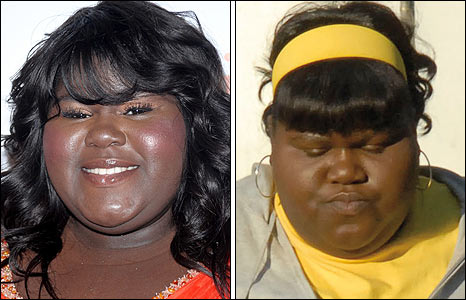 Gabourey Sidibe (l) and as Precious