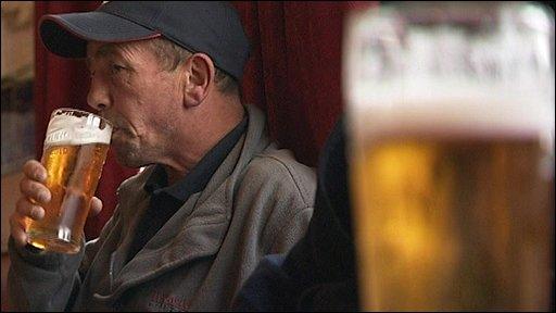 A man drinking in a pub in Blurton
