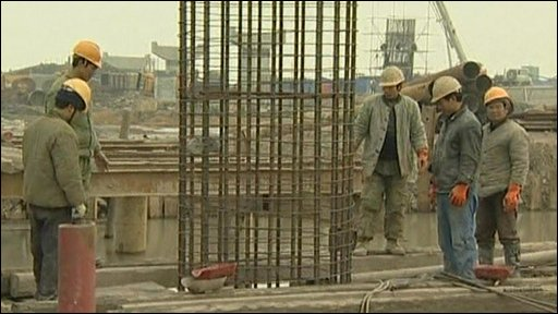 Workmen on a construction site
