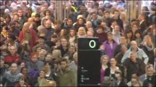 Crowds inside the new St Davids centre