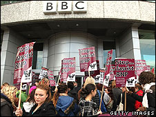 Anti-BNP protest at the BBC