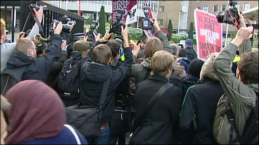 Protesters breach BBC security