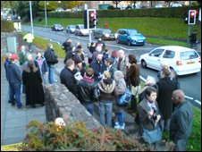Protest outside BBC Wales studios in Cardiff