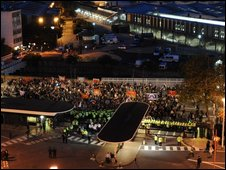 Aerial view of protesters outside Television Centre