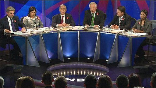 Chris Huhne, Baroness Warsi, Jack Straw, David Dimbleby, Nick Griffin and Bonnie Greer