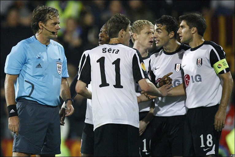 There is controversy when referee Paul Allaerts mistakenly sends off Brede Hangeland before correctly showing Stephen Kelly a red card - but Mark Schwarzer saves the resulting penalty