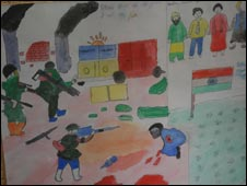 A child's painting on display at the mental health camp in Srinagar (Photo: Nissar Ahmad Bhat)