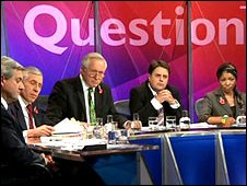 Nick Griffin, second right, on Question Time