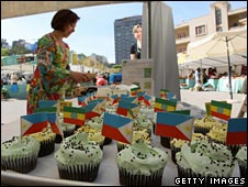 Cupcakes with different national flags at World Food Festival event in Lebanon
