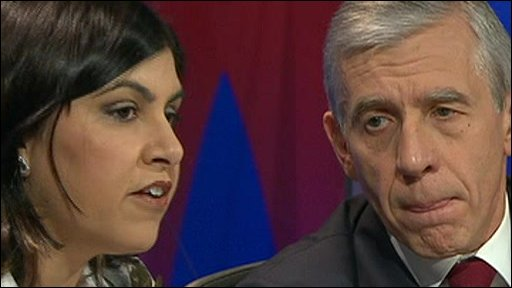 Baroness Warsi with Jack Straw
