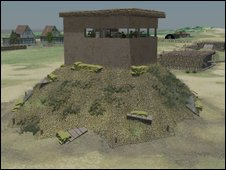 Reconstruction of Battery Observation Post, with Emergency Coastal Defence Battery behind.