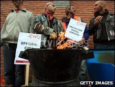 Postal workers on a picket line in Bristol