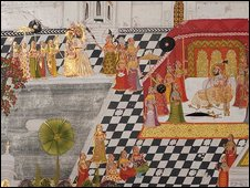 Detail showing Maharana Ari Singh at the Jagmandir , 1767