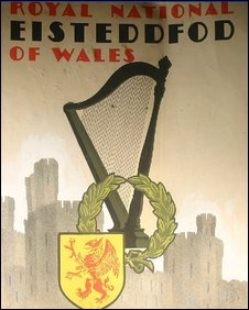 Part of the National Eisteddfod poster for 1935, with a very modern style