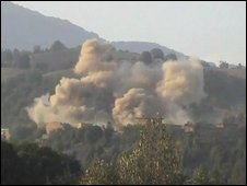 Smoke rising from what is believed to be Pakistani airstrikes