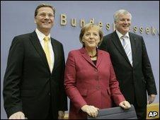 Seehofer, Merkel and Westerwelle in Berlin