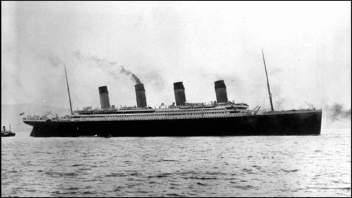 Titanic leaves from Southampton, England on her maiden voyage on 10 April 1912
