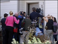 Media gather at the Heene home in Colorado,Oct 16
