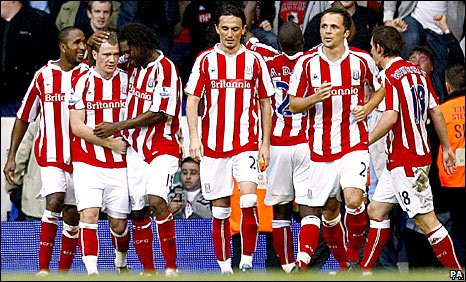 Stoke celebrate after Whelan's winning strike
