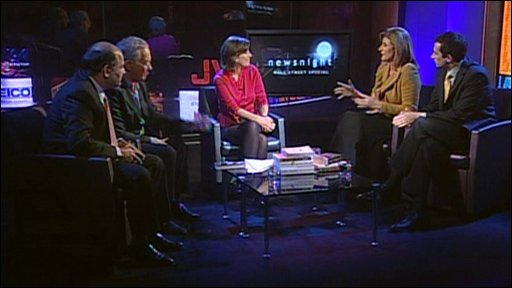 Newsnight discussion with Historian Simon Schama, Arianna Huffington of the Huffington Post, economist Liaquat Ahamed and the novelist Hari Kunzru