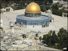 An aerial view of the golden Dome of the Rock Mosque at the Al Aqsa Mosque compound, known to Jews as the Temple Mount