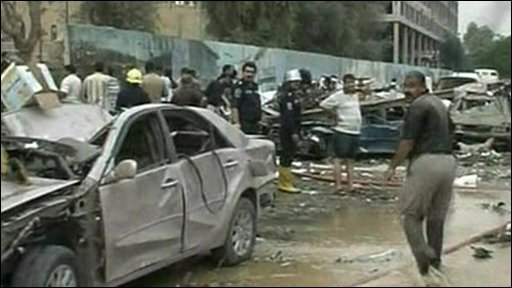 The aftermath of the car bomb attacks