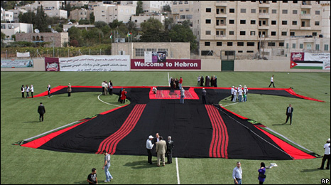 Giant dress in Hebron (25 October 2009)