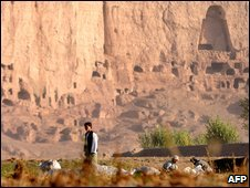 The cave-monasteries and the niches where the Buddhas, which were destroyed by the Taliban, once stood in Bamiyan
